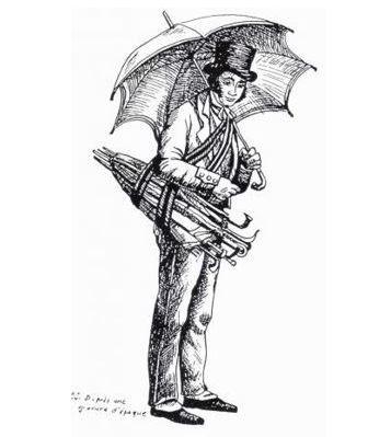 Portrait d'un colporteur de parapluies