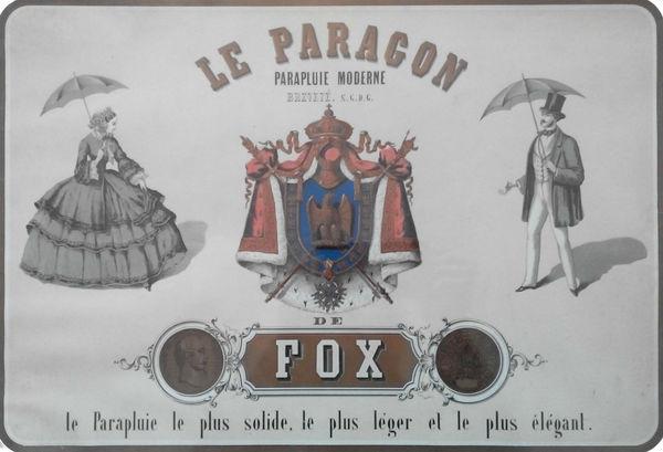 """Réclame pour le """"Paragon"""", un parapluie moderne au XIXe siècle"""